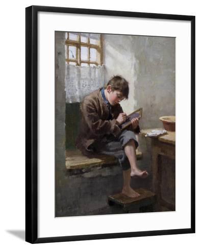 Home Lessons, 1887-Ralph Hedley-Framed Art Print