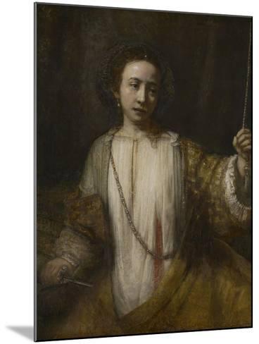 Lucretia, 1666-Rembrandt van Rijn-Mounted Giclee Print