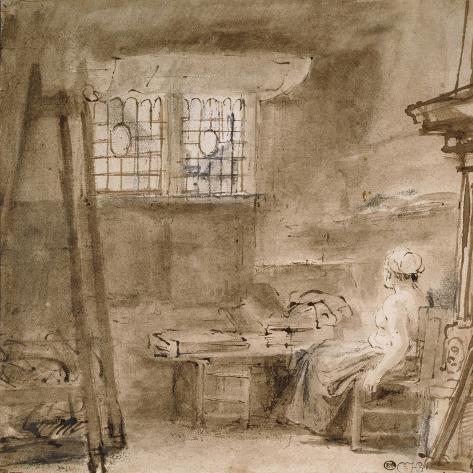 The Artist's Studio-Rembrandt van Rijn-Stretched Canvas Print