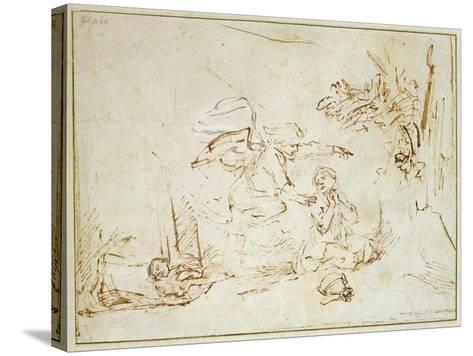 The Angel Appears to Hagar and Ishmael in the Wilderness (Pen and Brown Ink with Bodycolour on Pape-Rembrandt van Rijn-Stretched Canvas Print