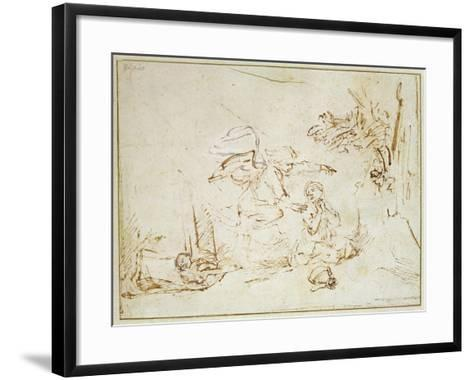 The Angel Appears to Hagar and Ishmael in the Wilderness (Pen and Brown Ink with Bodycolour on Pape-Rembrandt van Rijn-Framed Art Print