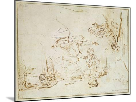 The Angel Appears to Hagar and Ishmael in the Wilderness (Pen and Brown Ink with Bodycolour on Pape-Rembrandt van Rijn-Mounted Giclee Print