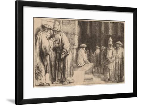 Jews in the Synagogue, 1648-Rembrandt van Rijn-Framed Art Print