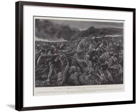 The Engagement at Vlakfontein, the Derbyshires Retaking the Guns at the Point of the Bayonet-Richard Caton Woodville II-Framed Art Print