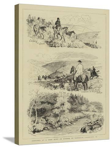 Sketches at a Deer Hunt on Exmoor-Randolph Caldecott-Stretched Canvas Print