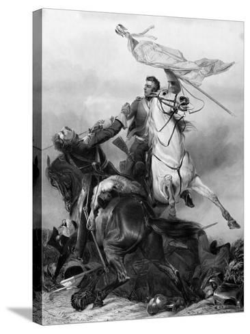Fight for the Standard - Sergeant Ewart Capturing the Eagle of the French 45th Regiment at Waterloo-Richard Ansdell-Stretched Canvas Print