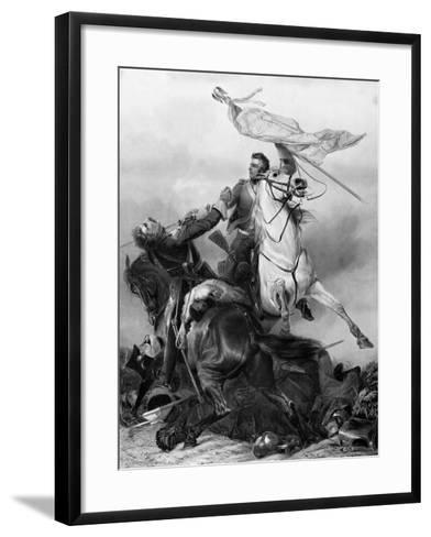 Fight for the Standard - Sergeant Ewart Capturing the Eagle of the French 45th Regiment at Waterloo-Richard Ansdell-Framed Art Print