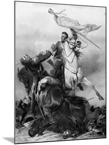 Fight for the Standard - Sergeant Ewart Capturing the Eagle of the French 45th Regiment at Waterloo-Richard Ansdell-Mounted Giclee Print