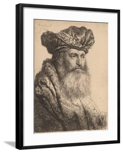 Bearded Man in a Velvet Cap with a Jewel Clasp, 1637-Rembrandt van Rijn-Framed Art Print