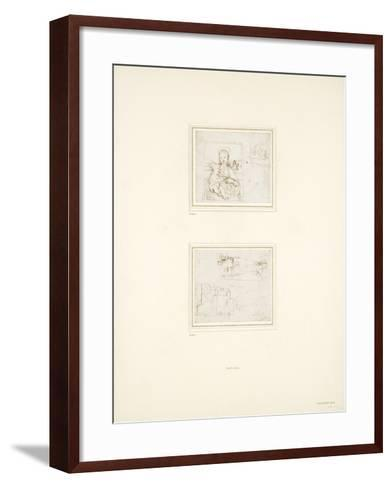 Landscape Sketch with a Brief Study of the Virgin Mary's Head Turned to Left-Raphael-Framed Art Print