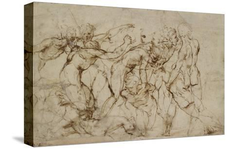 Battle Scene with Prisoners Being Pinioned (Pen and Brown Ink over Faint Indications in Black Chalk-Raphael-Stretched Canvas Print