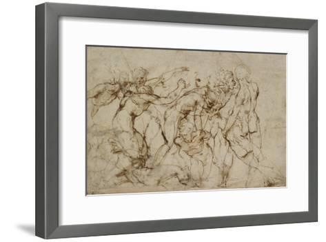 Battle Scene with Prisoners Being Pinioned (Pen and Brown Ink over Faint Indications in Black Chalk-Raphael-Framed Art Print
