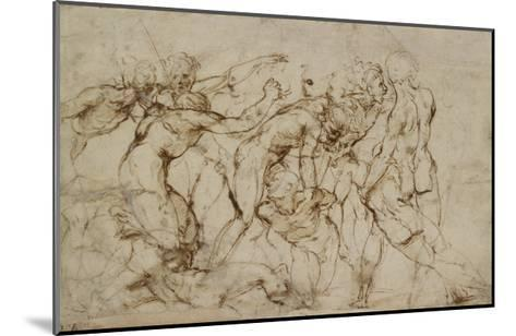 Battle Scene with Prisoners Being Pinioned (Pen and Brown Ink over Faint Indications in Black Chalk-Raphael-Mounted Giclee Print
