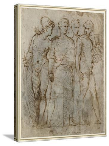 Group of Warriors (Donatello's St George at Orsanmichele in the Centre) (Pen and Brown Ink on White-Raphael-Stretched Canvas Print