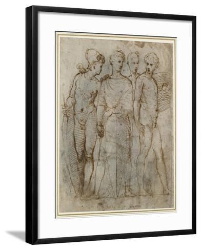 Group of Warriors (Donatello's St George at Orsanmichele in the Centre) (Pen and Brown Ink on White-Raphael-Framed Art Print