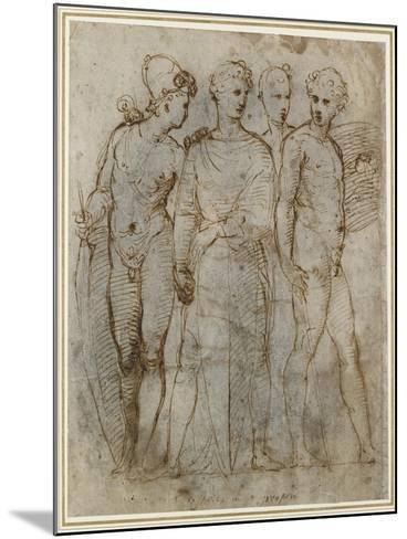 Group of Warriors (Donatello's St George at Orsanmichele in the Centre) (Pen and Brown Ink on White-Raphael-Mounted Giclee Print