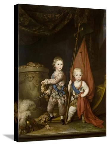 Portrait of Grand Dukes Alexander Pavlovich and Constantine Pavlovich, as Children, 1781-Richard Brompton-Stretched Canvas Print