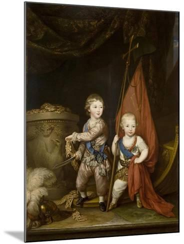 Portrait of Grand Dukes Alexander Pavlovich and Constantine Pavlovich, as Children, 1781-Richard Brompton-Mounted Giclee Print