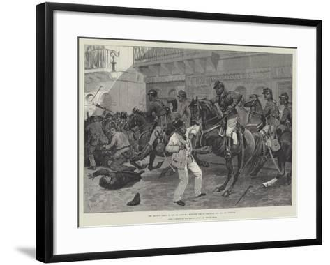 The Recent Crisis in Rio De Janeiro, Mounted Police Clearing the Rua Do Ouvidor-Richard Caton Woodville II-Framed Art Print