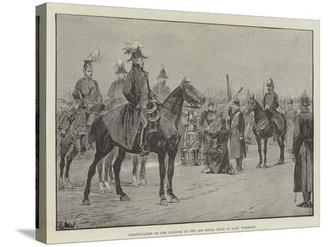 Presentation of New Colours to the 18th Royal Irish by Lady Wolseley-Richard Caton Woodville II-Stretched Canvas Print