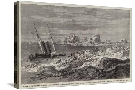 Wreck of the Jersey Mail Steam-Packet Express on the Grunes Houillieres-Richard Principal Leitch-Stretched Canvas Print