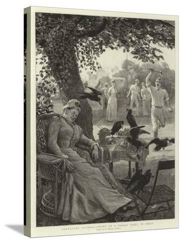 Unwelcome Visitors, Crows at a Tennis Party in India-Robert Barnes-Stretched Canvas Print