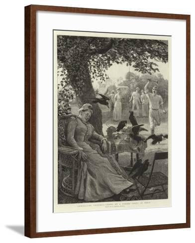 Unwelcome Visitors, Crows at a Tennis Party in India-Robert Barnes-Framed Art Print