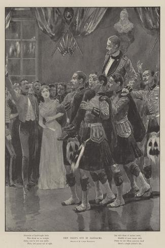 New Year's Eve in Barracks-Richard Caton Woodville II-Stretched Canvas Print