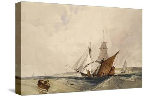 Shipping Off the Kent Coast (Pen and Grey Ink and Watercolours on Paper)-Richard Parkes Bonington-Stretched Canvas Print