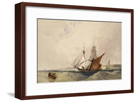 Shipping Off the Kent Coast (Pen and Grey Ink and Watercolours on Paper)-Richard Parkes Bonington-Framed Art Print