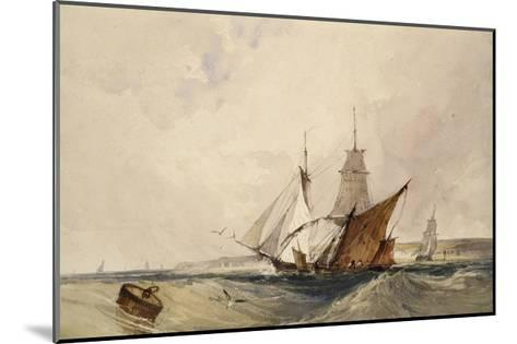 Shipping Off the Kent Coast (Pen and Grey Ink and Watercolours on Paper)-Richard Parkes Bonington-Mounted Giclee Print