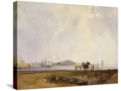 Landscape Near Quillebeuf, France, C.1824-25-Richard Parkes Bonington-Stretched Canvas Print