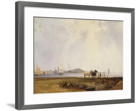 Landscape Near Quillebeuf, France, C.1824-25-Richard Parkes Bonington-Framed Art Print