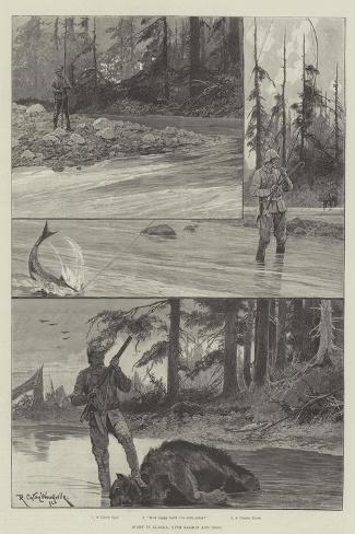 Sport in Alaska, with Salmon and Bear-Richard Caton Woodville II-Stretched Canvas Print