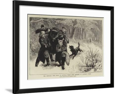 The Imperial Bear Hunt in Russia, Dead, the Emperor of Austria's Prize-Samuel Edmund Waller-Framed Art Print