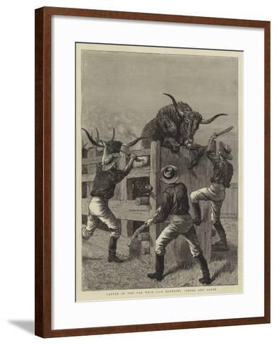 Cattle in the Far West, I, a Branding Corral and Shute-Samuel Edmund Waller-Framed Art Print