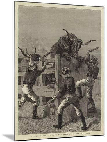 Cattle in the Far West, I, a Branding Corral and Shute-Samuel Edmund Waller-Mounted Giclee Print