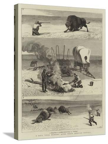 A Day's Still Hunting after North American Buffalo-Samuel Edmund Waller-Stretched Canvas Print