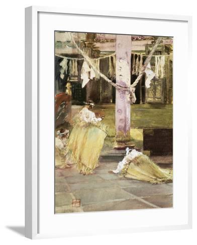 At Prayer, Temple Interior, C.1891-Robert Frederick Blum-Framed Art Print