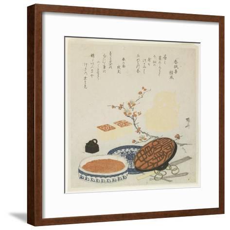 Seals, Carving Tools, Porcelain Ink Box and Plum Branch, 1820-Ryuryukyo Shinsai-Framed Art Print