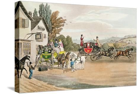 A London Mail and Stage Coach-Robert The Elder Havell-Stretched Canvas Print
