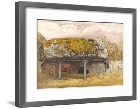 A Cow Lodge with a Mossy Roof, C.1829 (Pen and Ink with W/C and Gouache on Paper)-Samuel Palmer-Framed Art Print