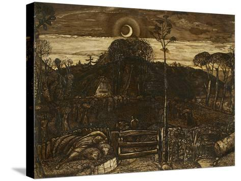 Late Twilight, 1825 (Pen and Dark Brown Ink with Brush in Sepia Mixed with Gum Arabic; Varnished)-Samuel Palmer-Stretched Canvas Print