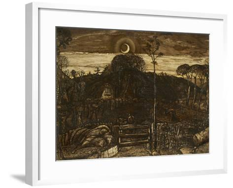 Late Twilight, 1825 (Pen and Dark Brown Ink with Brush in Sepia Mixed with Gum Arabic; Varnished)-Samuel Palmer-Framed Art Print