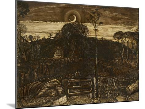 Late Twilight, 1825 (Pen and Dark Brown Ink with Brush in Sepia Mixed with Gum Arabic; Varnished)-Samuel Palmer-Mounted Giclee Print