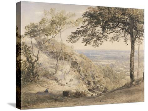 Wilmot's Hill, Kent (W/C, B/C and Chalk on Paper)-Samuel Palmer-Stretched Canvas Print