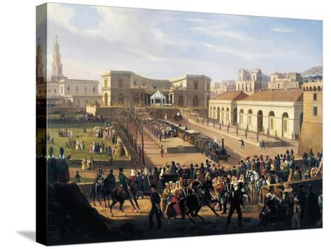 Inauguration of the Naples-Portici Railway, October 3, 1839-Salvatore Fergola-Stretched Canvas Print