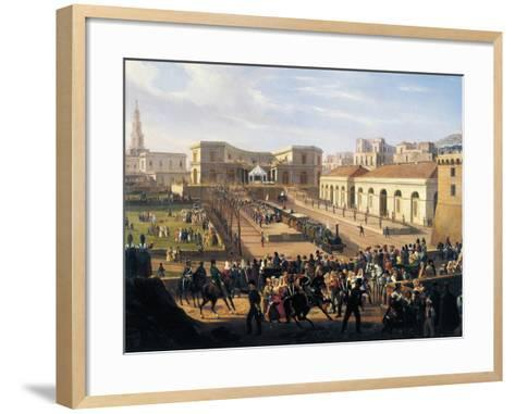 Inauguration of the Naples-Portici Railway, October 3, 1839-Salvatore Fergola-Framed Art Print