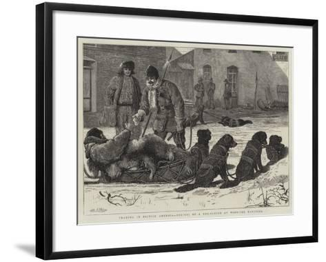 Trading in British America, Arrival of a Dog-Sleigh at Winnipeg Manitoba-Samuel Edmund Waller-Framed Art Print