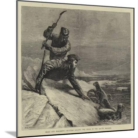 Seals and Sealskins, Hunters Killing the Seals in the Arctic Regions-Samuel Edmund Waller-Mounted Giclee Print